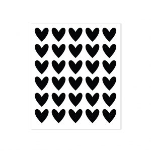 30 heart stickers - black