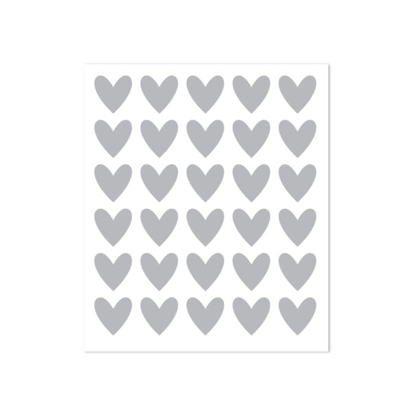 30 heart stickers - grey