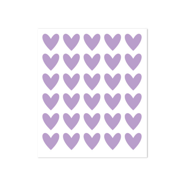 30 heart stickers - lilac
