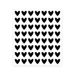 56 heart stickers - black